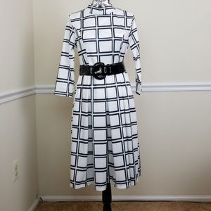 Black and white grid strip dress